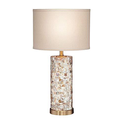Lámpara de mesa redonda de nácar azulejo oval blanco sombrilla salón familiar dormitorio cabecera