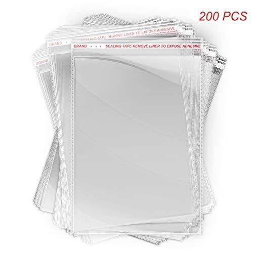 C5 - Bolsas de celofán para tarjetas de felicitación, 230 mm x 167 mm + solapa de 35 mm, 36 micras para mayor resistencia, autoadhesivas