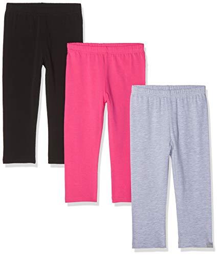 Playshoes Mädchen Leggings Capri Schwarz-pink-grau Im 3er Pack,Schwarz (Sortiert 999), (Herstellergröße: 92)