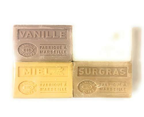 Label Provence - Lot de 4 savons à l'huile d'olive BIO ; senteur : Vanille/Miel/Muguet/Surgras