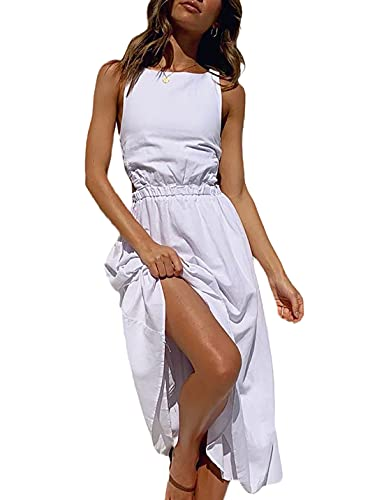 Summer Dresses, Women's Backless Sleeveless Casual A-Line Boho Dress for Date, Vacation - Casual Long Maxi Dress with Elastic High Waist,White Long Flowy Beach Dresses with Solid Color for Women,L