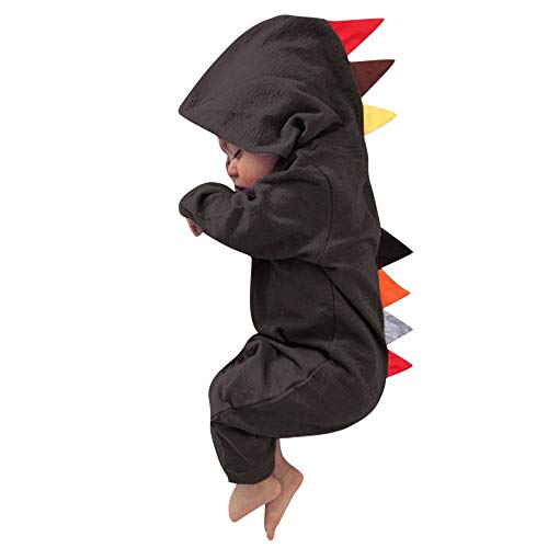 Hirolan Overall Bekleidungssets Neugeborenes 6-24 Monate Baby Jungs Mädchen Dinosaurier Reißverschluss mit Kapuze Spielanzug Onesies Strampler Jumpsuit Outfits Kleidung Set (Braun, 80)