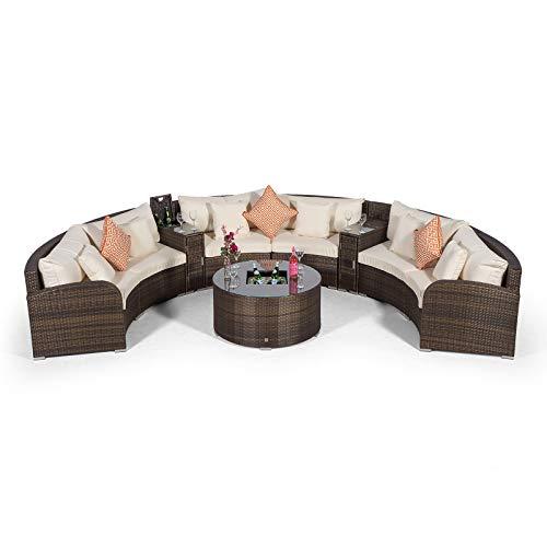 Giardino Riviera 6 Sitzer Rattan Gartenmöbel Set Braun - Sofa mit 2 Kühlboxen, Couch Tisch mit Eiskühler + Abdeckungen - Lounge Möbel Set 9-teilig