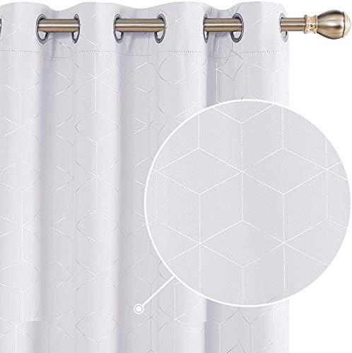 Deconovo Vorhang VerdunkelungBlickdicht Thermo Vorhänge Ösen 175x140 cm Grau Weiß 2er Set