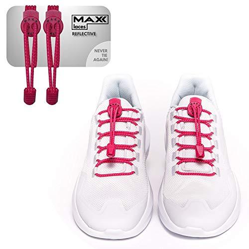 MAXX laces - Elastische Schnürsenkel mit Schnellverschluss ohne Binden | komfortable Schuhbinden | einfach zu bedienen | Passt zu jedem Schuh (Pink Reflective)