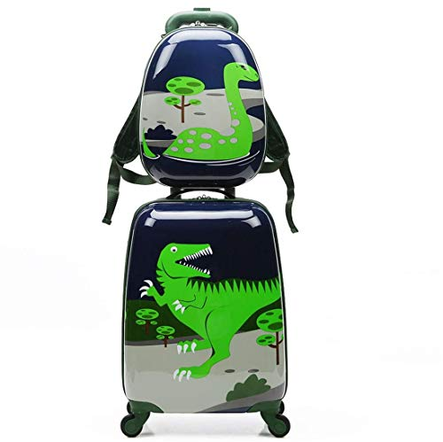 Children Rolling Suitcase Animal Cartoon Pattern Carry On Set with Universal Wheels 18 in with 13 in Cute Cartoon Shoulder Bag Travel Luggage Case Set (18in and 13in, Dinosaur)