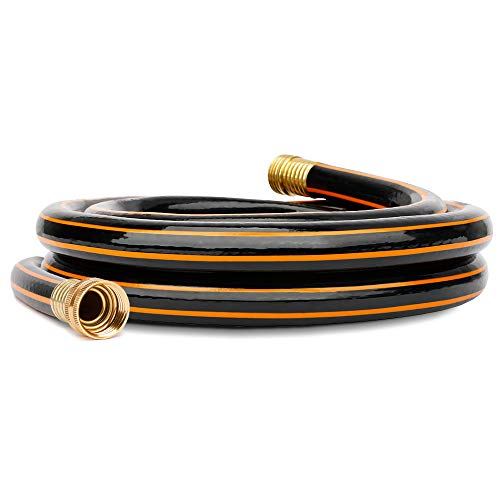 Black-Orange Garden Short Hose 5/8 in. x 4 ft. Hose Reel Lead in Hose, Male/Female Solid Brass Fittings, No Leaking, Short Connector Hose for Water Softener, Dehumidifier, Camp RV, Janitor Sink Hose