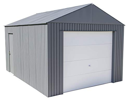 Sojag 12' x 15' Everest Galvalume Steel with Extra Tall Walls Garage Storage Building, Charcoal