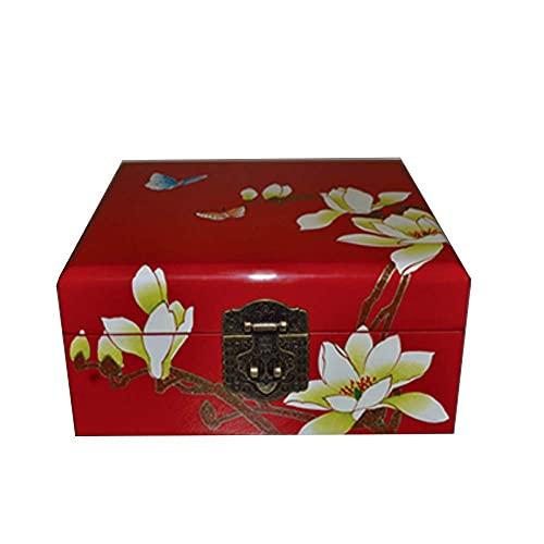 Boîte de Rangement Chinoise, Pousser Laque Ware boîte de Rangement de Bijoux Artisanat Fleur de Lotus Oiseau Peint Laque fête des mères, Un Meilleur Cadeau pour la mère (J)