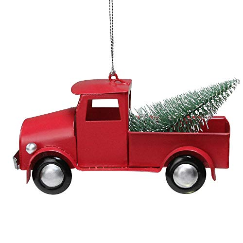 Northlight 5.25' Red Iron Truck with Frosted Green Tree Christmas Ornament
