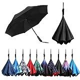 BAGAIL Double Layer Inverted Umbrellas Reverse Folding Umbrella Windproof UV Protection Big Str…