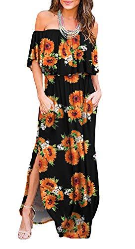 LILBETTER Womens Off The Shoulder Ruffle Party Dresses Side Split Beach Maxi Dress (SF Black,XX-Large)