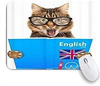 EILANNAマウスパッド 老眼鏡を学ぶ猫動物のテーマ ゲーミング オフィス最適 高級感 おしゃれ 防水 耐久性が良い 滑り止めゴム底 ゲーミングなど適用 用ノートブックコンピュータマウスマット