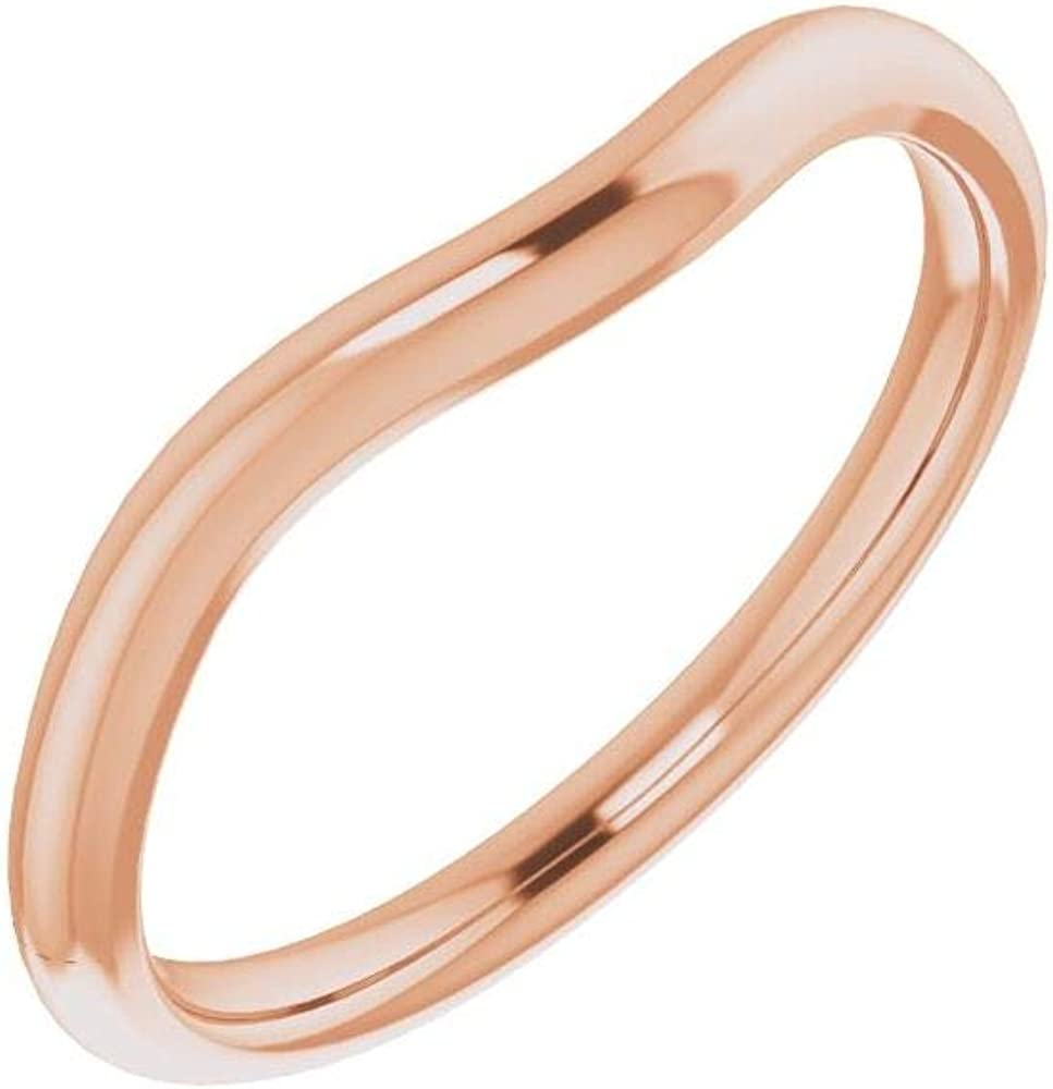 Solid Same day shipping 10K Rose Tampa Mall Gold Curved Notched R Band Wedding Square for 7mm