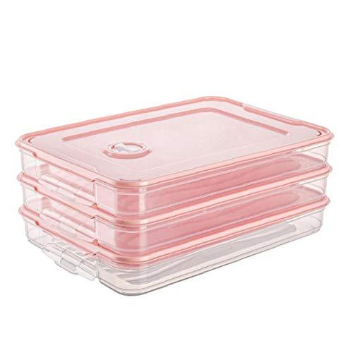 Titular 3PCS REFRIGERADOR, Raviolis la Caja de almacenaje, una Sola Capa con Tapa apilable, Organizador de la Bandeja de plástico Rosa envase de alimento