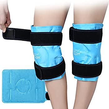 Relief Expert Knee Ice Pack for Injuries Reusable Gel Cold Pack Knee Wrap with Cold Compression Instant Pain Relief for Surgery Swelling Bruises - Soft Plush Lining 2 Packs