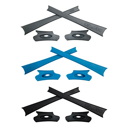 HKUCO Blue/Black/Grey Replacement Rubber Kit for Oakley Flak Jacket/Flak Jacket XLJ Sunglass Earsocks