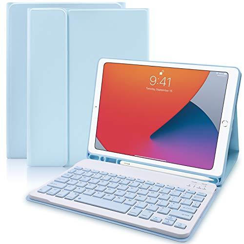Custodia Tastiera per iPad 10,2 2020/2019(8a e 7a Generazione)/iPad Air 3 /iPad Pro 10,5 –Custodia Protettiva con Supporto per Apple Pencil, Tastiera Staccabile Wireless per ipad 10,2(Cielo Blu)