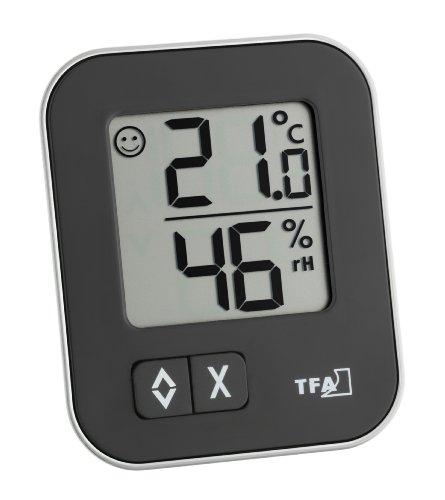 TFA Dostmann Thermo-Hygromètre Moxx digital, niveau de confort, fonction max-min, intérieur, noir