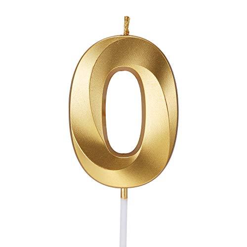 Smarcy Candela di Compleanno Numero 0 d'Oro Candela Numerale 0 Topper per Torta