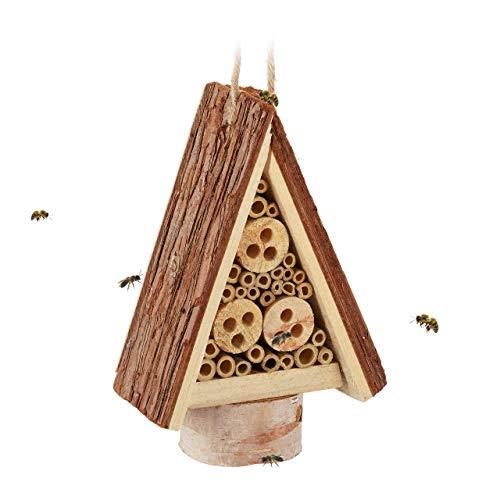 Relaxdays Insektenhotel, Nisthilfe für Wildbienen & Wespen, Garten, Balkon, Bienenhotel HxBxT 22,5 x 16 x 8,5 cm, Natur