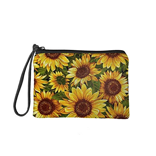 MODEGA Teens Girls Canvas Coin Purse Oil Painting Art Sunflower Wallets Small Zipper Clutch Wallet for Women Lady Travel Change Pouch Coins Bags, Phone Bag, Keys/Cards Storage