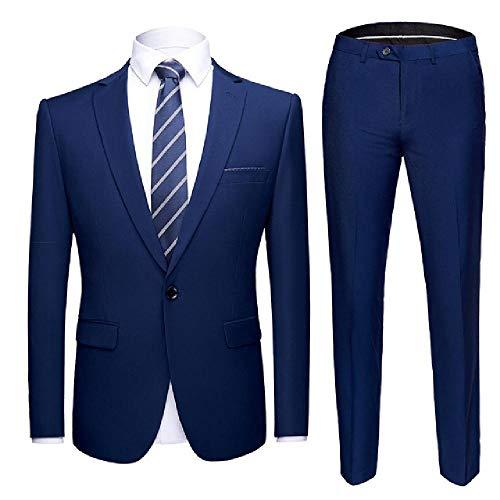 NOBRAND Herren-Anzug-Set, Königsblau, formeller Ballanzug, mit Hose, Party, Hochzeit, Smokinganzug, Herren, Slim Fit Gr. XXXXL, Königsblauer Anzug