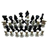 Tamaño Compacto 65 mm 32 Piezas de ajedrez Medievales/plástico Completo Chessmen International Word Chess Game Entertainment (Blanco y Negro)
