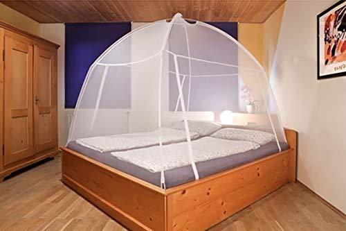 Moustiquaire Tente de Lit de Voyage Dôme inclus sac de tranport Blanc Arceaux et 2 ouvertures par tirette Moustiquaire ciel-de-lit auto-portante