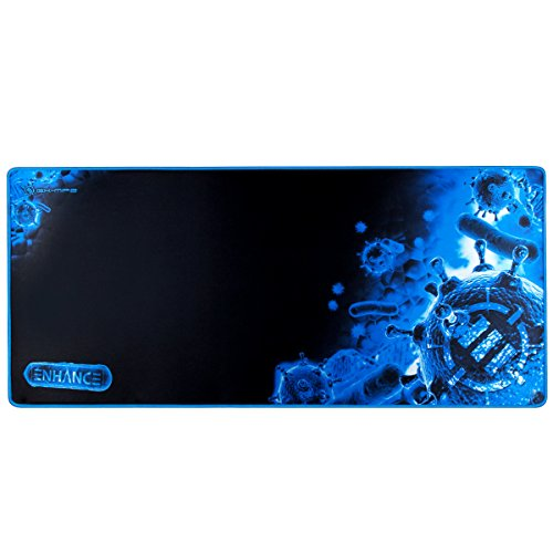 ENHANCE Pathogen Extra Large Gaming Mouse Pad (31.5 x 13.75 in) - Extended Mousepad with Anti-Fray Stitching, Low Friction Smooth Surface, Non-Slip Backing - Full Desk Mouse Mat (Blue)