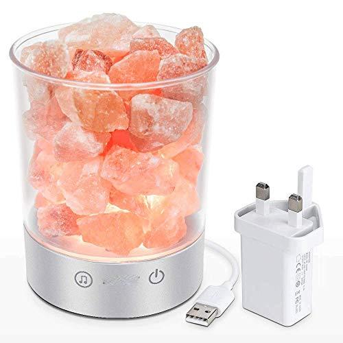 LIJING Lámpara De Sal Roca Rosa Cristalina del Himalaya Brillo Ajustable Luz De Sal con Altavoz Bluetooth Bombillas para Decoración del Hogar Regalo