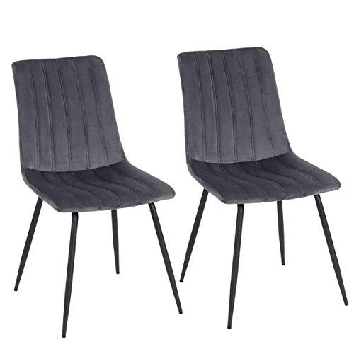 Aufun Esszimmerstuhl 2 Stück Wohnzimmerstuhl aus Samt, Metallbeine, Ergonomisch Küchenstuhl Polsterstuhl Sessel Sitzfläche, ZE2020-2, Dunkelgrau