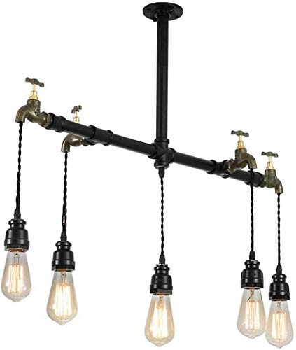 FTFTO Living Equipment Industrial Retro Chandelier 5 Flaming Antique Iron Pipe Hanging Lamp Loft Ceiling Lamp Decoration Pendant Lights