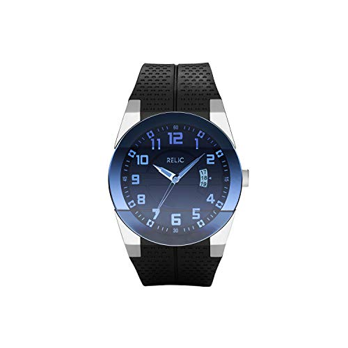 Relic by Fossil Men's Jake Stainless Steel Analog-Quartz Silicone Strap, Black, 22 Casual Watch (Model: ZR11861)