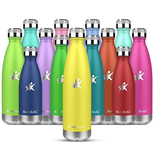 KollyKolla Botella de Agua Acero Inoxidable, Termo Sin BPA Ecológica, Botellas Termica Reutilizable Frascos Térmicos para Niños & Adultos, Deporte, Oficina, Yoga, Ciclismo, (350ml Amarillo Claro)
