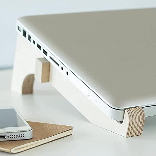 Soporte de sobremesa para portátil, fabricado en madera, altura, inclinacion y ventilación idonea, videoconferencias, Teletrabajo, Oficina en casa
