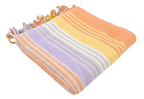 InfuseZen Striped Colorful Turkish Towels, Peshtemal Towels for Bath, Beach, Pool Spa, Yoga, Gym, 100% Cotton Thin and Absorbent Towel, Large Hammam Towels (Orange)