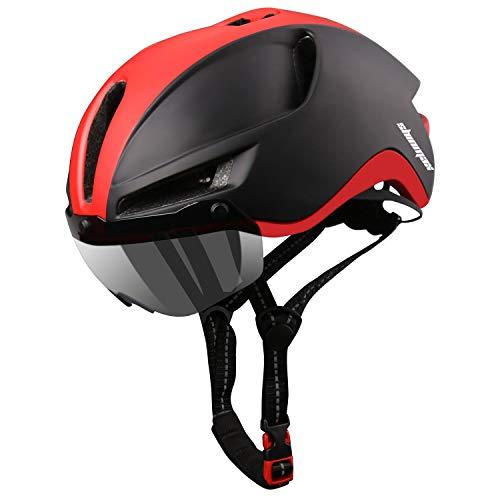 Shinmax Casco de Bicicleta MTB Para Hombre Mujer con luz Trasera LED Recargable Visera Magnética Diseño de Cuerda de Seguridad Reflectante Extraíble Casco Bicicleta Adultos Ligero Transpirable 60-64cm
