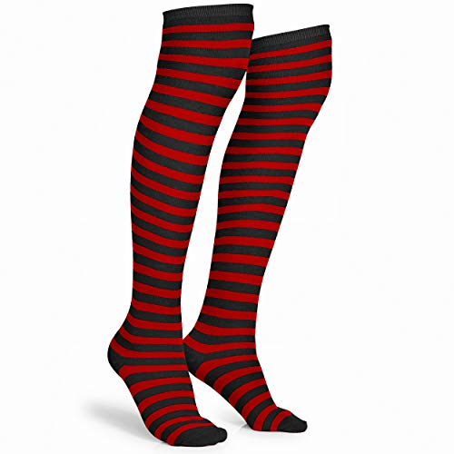 Skeleteen Black and Red Socks - Over The Knee Striped Thigh High...