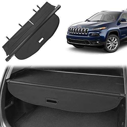 OREALTOOL Laderaumabdeckung Kofferraum Schutz Abdeckung Cargo Cover für Jeep Cherokee 2014-2018 Schwarz Ausziehbar Kofferraumabdeckung Rollo