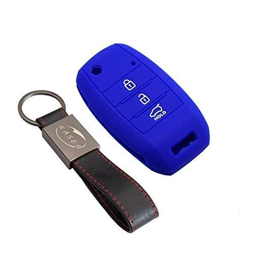 kaser Funda Silicona para Kia Hyundai – Carcasa Llaveros 3 Botones para Coche Sportage Piccanto Rio Venga Sorento Cover Case Protección Remoto Mando Auto (Azul)