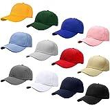 Falari Wholesale 12-Pack Baseball Cap Adjustable Size Plain Blank Solid Color (Assorted Color Group 1)