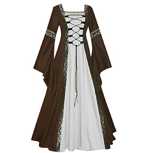 Bluelucon dames middeleeuwse jurk gothic prinses jurk hoge taille onregelmatige lange mouwen cosplay maxi-jurk plus maat overgroot renaissance party kostuum