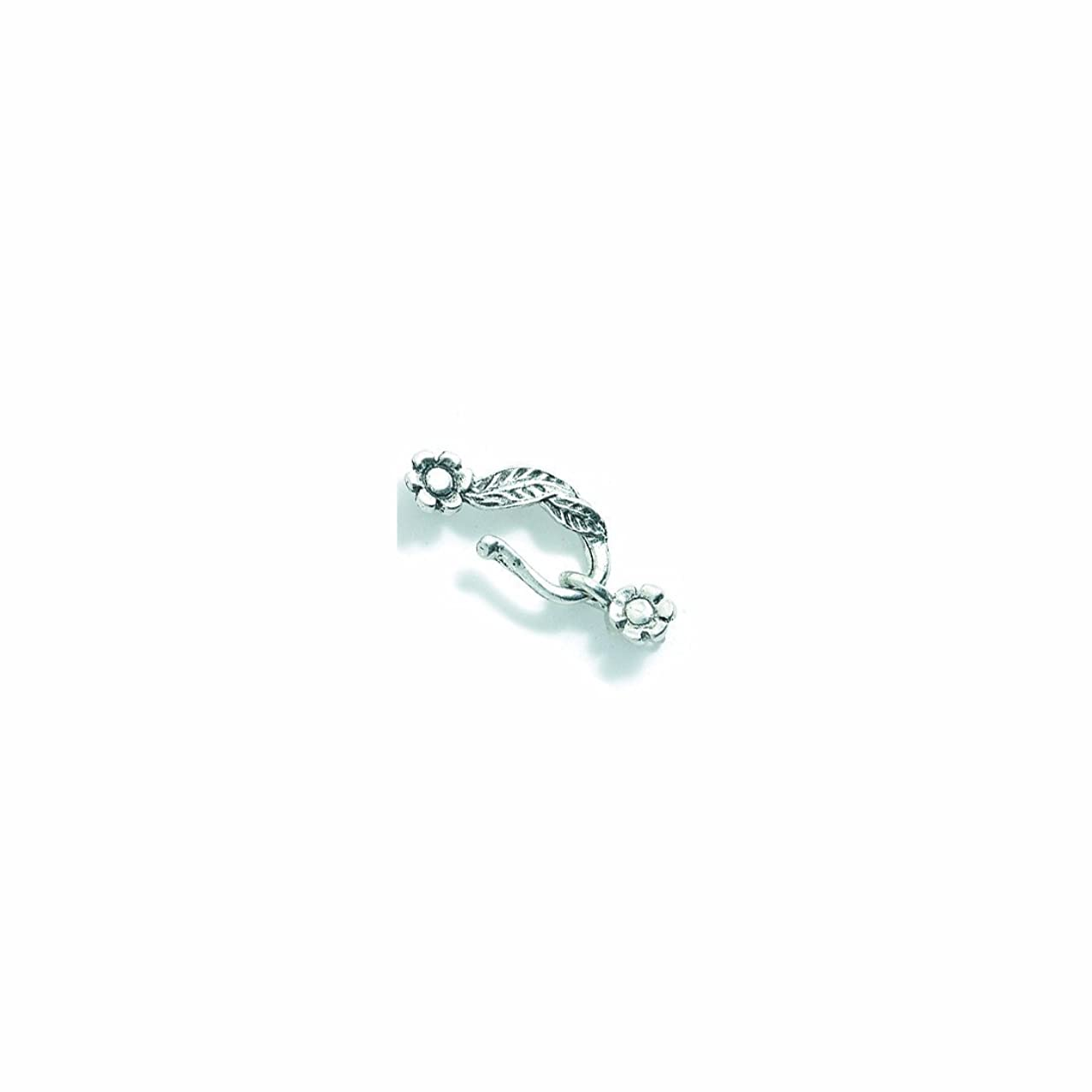 Shipwreck Beads Pewter Hook Flower Clasp, Metallic, Silver, 32mm, Set of 4