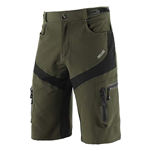 Los Hombres De Loose MTB Shorts, Pantalones Pantalones Cortos De Ciclista Bicicleta De Montaña Ligera Holgada DH Bicicleta En Declive Ciclo Pantalones Cortos De Ajuste Al Aire Libre,Verde,L