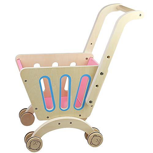 Nuheby Einkaufswagen Kinder Spielzeug Kaufmannsladen Holz mit Höhe des Schiebegriffs 43cm, Rollenspiel Geschenke für Kinder ab 3 4 5 6 Jahren Junge Mädchen