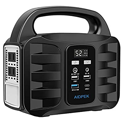 AIDPEK 100W Portable Power Station,155Wh 42000MAH Camping Solar Generators with 2 DC Ports?USB QC3.0, LED Flashlights for CPAP Home Camping Emergency Black