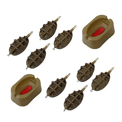 YeenGreen Method Feeder, Angeln Inline Feeder, 8 Stück Inline Methode Karpfenangeln Feeder, 2 Stück Feeder Set Inline System Zum Karpfenangeln Zubehör Aus Kunststoff(15/20/25/35g und 30/40/50/60 g)