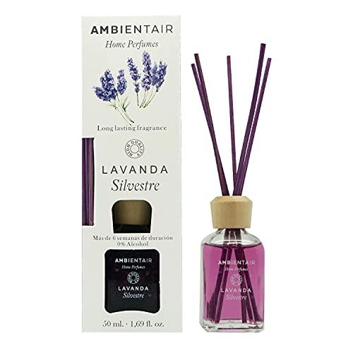 Ambientair Home Perfumes. Difusor de Varillas perfumadas. Ambientador Mikado Lavanda. Difusor 50 ml con palitos de ratán. Ambientador sin Alcohol para casa.