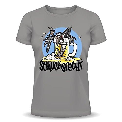 Lustiges Fun-Shirt für Durstige! Schluckspecht T-Shirt, Geschenk mit Spaßurkunde! Größe: XL Farbe: grau